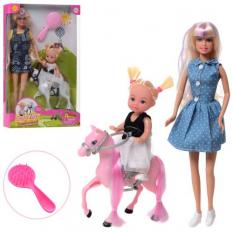 Лялька DEFA 8399 - BF (24 шт) 29 см, дочка 10 см, кінь 11 см, гребінець, 2 види, в коробці, 19-31-5,5 см