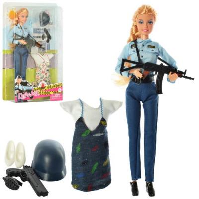 Лялька з нарядом DEFA 8388 - BF шарнірна, 29 см, поліцейський, сукня, 2 види, в коробці, 21,5-31,5-5 см
