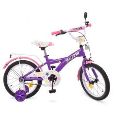 Велосипед дитячий PROF1 18д. T1863 (1шт) Original girl, фіолетов.-рожевий., Дзвінок, доп.колеса