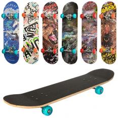 Скейт MS 0321-3 (6 шт) 79,5-19, 5 см, алюмінієва підвіска, колеса ПУ, що світяться 7 шарів, 608Z, в розібраному вигляді, дошка н