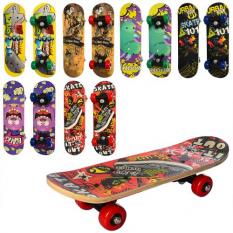 Скейт MS 0324-1 (12шт) 43-13см, пластмасова підвіска, колеса ПВХ, 7 шарів, підшипники 608Z, 6 видів, в розібраному вигляді