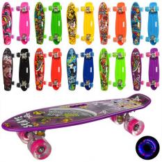 Скейт MS 0749-6 PROFI, пенні 55-14,5 см, світяться