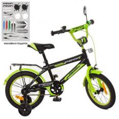 Велосипед дитячий PROF1 14д. SY1451 (1шт/ящ) Inspirer, чорно-салатовий