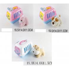 Мягкая игрушка BL4000007/8/9 (1337256-7-81) (60шт/2) животное в переноске, 3 вида, 9,5*14*11 см
