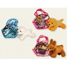 Мягкая игрушка MB106 (80шт) собачка 20 см, 3 вида,  в сумочке с пайетками 17*13 см, 2 цвета,  в паке