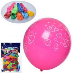 Шарики надувные MK 1039-5 (100шт) 12 дюймов, принт сердце, микс цветов, 50шт в кульке,19-29-2см