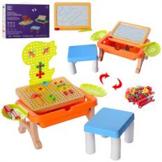 Столик ігровий DQ 828 Стільчик, дощечка для малювання, мозаїка на шурупах, в коробці