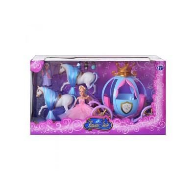 Карета TG 778397/201(12шт) лялька Попелюшка, 2 коні, фея, миші, світло, на бат-ке, в кор-ке, 49-20-26см