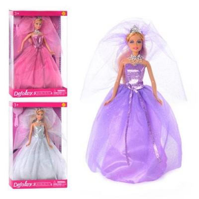 Лялька DEFA 8253(24шт) на підставці, гребінець, туфлі, 3 кольори, в кор-ке, 33-22-5,5см