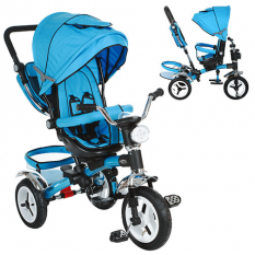 Велосипед M 3199-5HA (1шт/ящ) три кол.рез (12/10), колясочні., Поворот, муз., Світло, торм., Сумка, синій