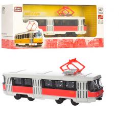 Трамвай 6411D (96шт) метал, инер-й, 1:54, 16,5см, в кор-ці,19,5-5-7,5см