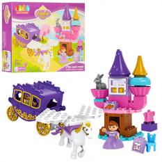 КОНСТРУКТОР JDLT 5282 (12шт) замок принцеси, карета з конем, фігурка, 55дет, в кор-ке