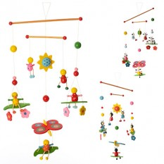 Деревяна іграшка Підвіска MD 0990 (120шт) 52см, підвски 5шт, мікс видів,в кульці,15-20-3см