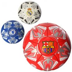 Мяч футбольний 2500-23ABC (30шт) размір5,ПУ1,4мм,4слоя,32панелі,400-420г,3види(клуби),в кульці