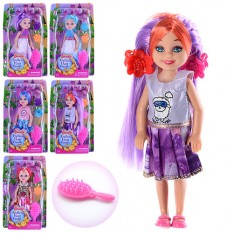 Кукла KL001-1-2 (216шт) 13см, заколочки 2шт, розчіска, мікс видів, в слюді,11-18-4см