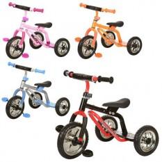 Велосипед  М 0688-2(4шт/ящ) три колеса, сіро-блакитний, малиновий, помаранчевий, червоно-чорний, синьо-червоний