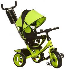 Велосипед M 3113-4 (1шт) три кол.EVA (11/9), колясочний, своб.ход колеса, гальмо, підшипників., Зелений